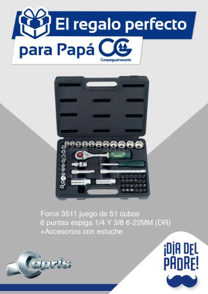 Imagen de Juego de Cubos 51 piezas Force 3511 6 puntos espiga 1/4 Y 3/8 6-22MM (DR) + accesorios con estuche